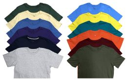 12 Bulk Mens Cotton Crew Neck Short Sleeve T-Shirts Mix Colors, 3X LARGE
