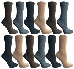 12 Bulk Socksnbulk Womens Dress Crew Socks, Bulk Pack Assorted Chic Socks Size 9-11
