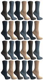 24 Bulk Socksnbulk Womens Dress Crew Socks, Bulk Pack Assorted Chic Socks Size 9-11