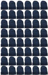 48 Bulk Yacht & Smith Unisex Winter Warm Beanie Hats In Solid Black