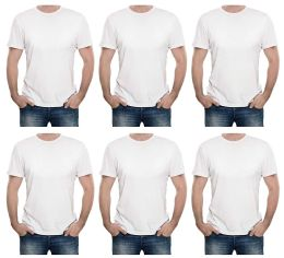 6 Bulk Mens Cotton Short Sleeve T Shirts Solid White Size S