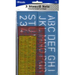 24 Bulk 3 Pack Lettering Stencil Sets