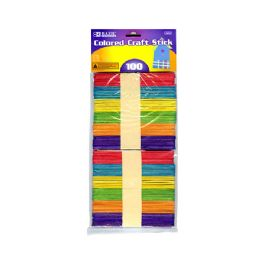 24 Bulk Colored Craft Wooden Stick 100 Pack