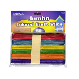 24 Bulk Jumbo Colored Wooden Craft Stick 50 Pack