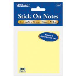 "24 Bulk 100 Ct. 3"" X 3"" Yellow Stick On Notes"