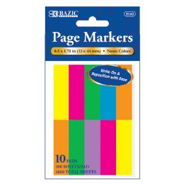 """24 Bulk 100 Ct. 0.5"""" X 1.75"""" Neon Page Marker (10/pack)"""