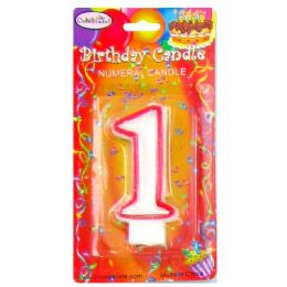 144 Bulk B-Day Candle Red Numeral #1