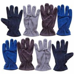 60 Bulk 9.5 Mens Assorted Fleece Glove 4 Colors