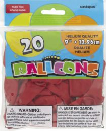 24 Bulk Balloon 9In 20Ct Ruby Red