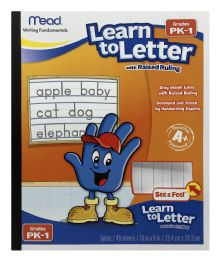 12 Bulk Mead Learn To Letter Writing Tablet, Raised Ruling