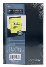 6 Bulk Mead Cambridge Writing Pads Wide Ruled 70 Sheets