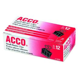 12 Bulk Acco Binder Clips, Small, Black, 12/box
