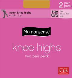 6 Bulk Knee Hi Sheertoe Tan 2Pk