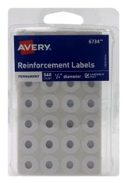 12 Bulk Avery SelF-Adhesive Reinforcement Labels, 1/4 Inch Round, 560 Labels