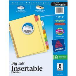 24 Bulk Avery Big Tab Insertable Dividers, Buff Paper, 8-Tab Set, Multicolor