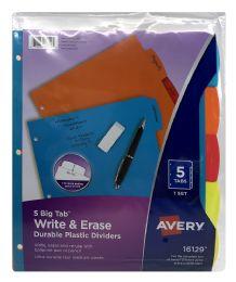 24 Bulk Avery Big Tab Write & Erase Durable Plastic Dividers, 5-Tab Set, Multicolor