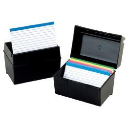 12 Bulk Oxford Plastic Index Card Boxes, 3 Inch X 5 Inch, Black