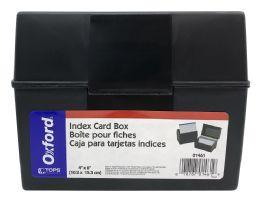 12 Bulk Oxford Plastic Index Boxes, 4 Inch X 6 Inch, 400 Card Capacity, Black