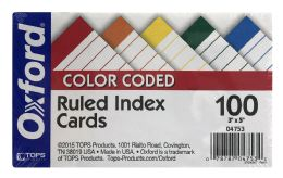 20 Bulk Oxford Color Coded Ruled Index Cards, 3 Inch X 5 Inch, Assorted Colors, 100 Per Pack