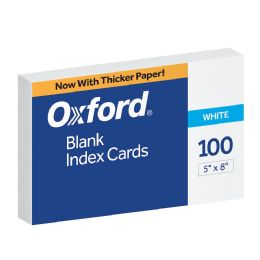 16 Bulk Oxford Blank Index Cards, 5 Inch X 8 Inch, White, 100 Per Pack