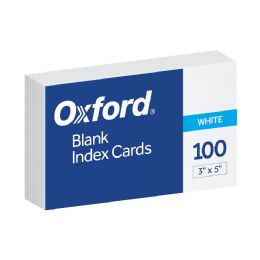 10 Bulk Oxford Blank Index Cards, 3 Inch X 5 Inch, White, 100 Per Pack