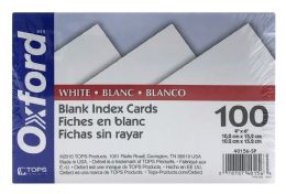 6 Bulk Oxford Blank Index Cards, 4 Inch X 6 Inch, White, 100 Per Pack