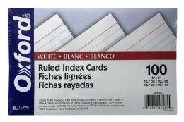 10 Bulk Oxford Ruled Index Cards, 5 Inch X 8 Inch, White, 100 Per Pack