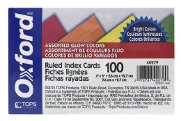 12 Bulk Oxford Neon Index Cards, 3 Inch X 5 Inch, Ruled, Assorted Colors, 100 Per Pack