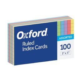 20 Bulk Oxford Ruled Color Index Cards, 3 Inch X 5 Inch, Assorted Colors, 100 Per Pack