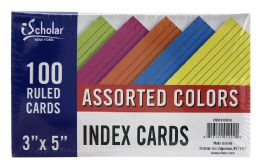 24 Bulk Ischolar Assorted Colors 3 Inch X 5 Inch Index Cards