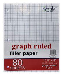 12 Bulk Ischolar Graph Ruled Filler Paper Sheets