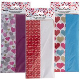 48 Bulk Tissue 8ct 3ast Valentine Print 4pc Solid/4print Per pk