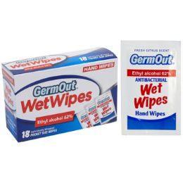24 Bulk Wipes 18ct Alcohol Antibacterial Germ Out Individually Wrapped