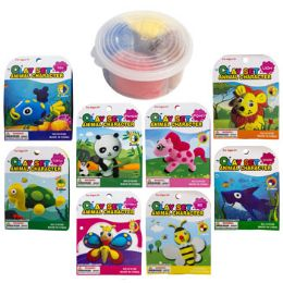 24 Bulk Clay Set Animal Character 8asst Container W/lid & Wrap Card
