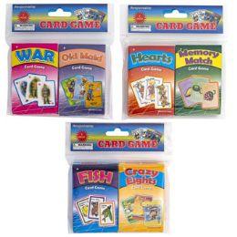72 Bulk Card Game 3ast 2pk OldmaiD-War/ FisH-Crazy8/memorY-Hearts Pb/ins