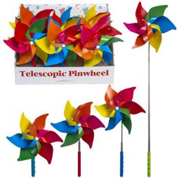 24 Bulk Pinwheel Rainbow Telescopic Extends To 28in 12pc Pdq