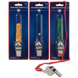 72 Bulk Coach Whistle Metal Traditional Style W/4ast Color Cord Blc