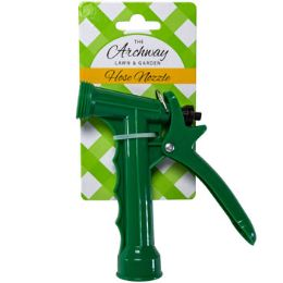 48 Bulk Hose Nozzle Plastic Pistol Green 5in L/garden Tie On Card