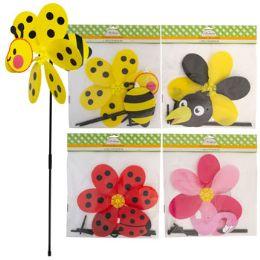 24 Bulk Windmill Yard Stake Plastic 27in 3d Bee/ladybug/flamngo/crow Pbh