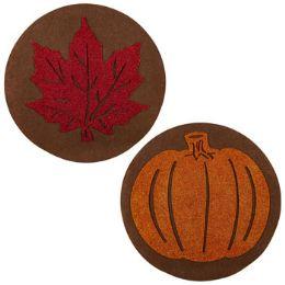 48 Bulk Placemat Harvest 15in Round Felt W/eva Glitter Cutout Leaf/pumpkn