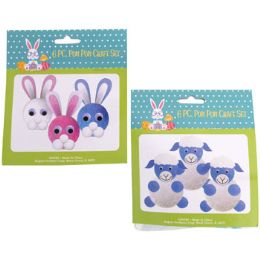 36 Bulk Easter Pom Craft Set Makes 6pc