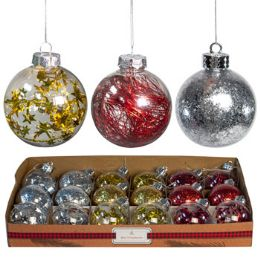 18 Bulk Ornament Ball Red/gold/silver 3.15 Confetti/tinsel/star Wire