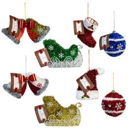 24 Bulk Ornament Tinsel 8ast Xmas Header Hat/stocking/ball/sleigh/bell
