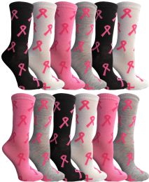 240 Bulk Pink Ribbon Breast Cancer Awareness Crew Socks For Women Size 9-11