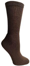 120 Bulk Yacht & Smith Women's Sports Crew Socks Size 9-11 Brown Bulk Pack