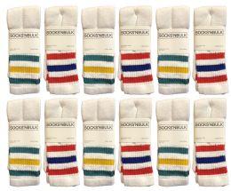 120 Bulk Yacht & Smith Women's Cotton Striped Tube Socks, Referee Style Size 9-11 Bulk Pack