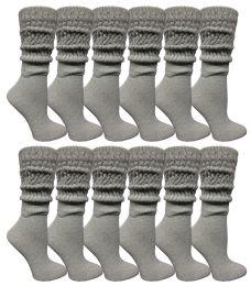48 Bulk Yacht & Smith Womens Heavy Cotton Slouch Socks, Solid Heather Gray