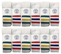 240 Bulk Yacht & Smith Men's Cotton Tube Socks, Referee Style, Size 10-13 White With Stripes Bulk Pack