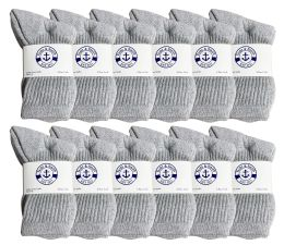 1200 Bulk Yacht & Smith Kids Cotton Crew Socks Gray Size 6-8