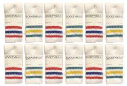120 Bulk Yacht & Smith Kids Cotton Tube Socks Size 6-8 White With Stripes Bulk Pack